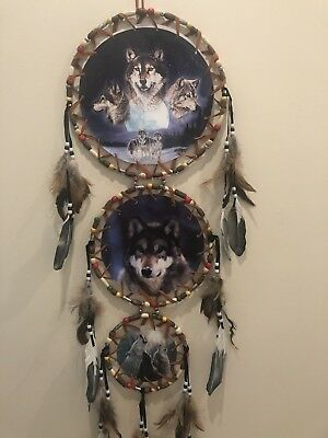 Free Shipping! 3 Tier Dream Catcher 3 Canvas Pictures Wolves and Moon