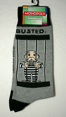 Mr. Monopoly Busted Get Out Of Jail Free Hasbro New Pair Lt Gray Socks Fits 6-12