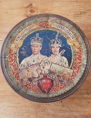 KING GEORGE V1 & QUEEN MARY 1937 CORONATION. large round tin