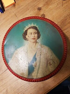 Queen Elizabeth  1953 Coronation tin  including paintings of 6 castles