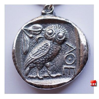 Sterling Greek Owl Coin Talisman wisdom-Courage-Inspiration-Strength NY44R2