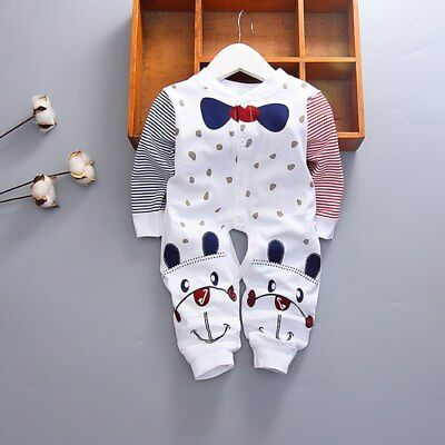 Boys GirlsToddler Romper Baby Jumpsuit Cotton Blue Bow Tie Long Sleeves Clothing