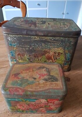2 antique different sized tins..no marks