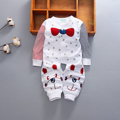 Boys GirlsToddler Romper Baby Jumpsuit Cotton Red Bow Tie Long Sleeves Clothing