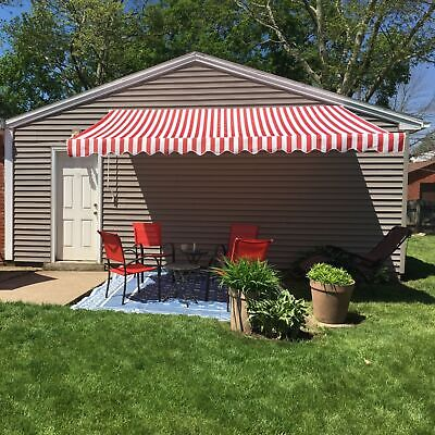 ALEKO Retractable Patio Awning 10 X 8 Ft Deck Sunshade Red and White Stripe
