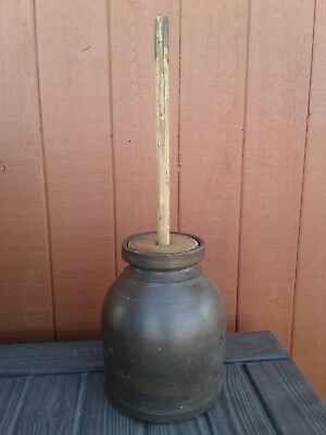 Vintage Stoneware Churn With Lid & Dasher
