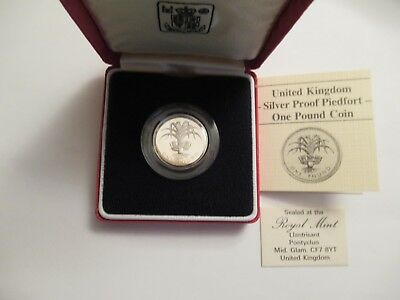 1985 UK Proof Silver One Pound Piedfort, Mint pkg & COA, blooming flax