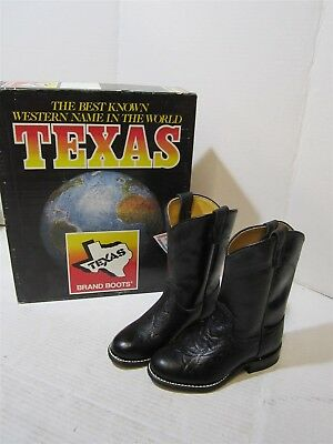 Texas Brand 3330 Childrens Vintage Black Leather Western Cowboy Boots 2 D