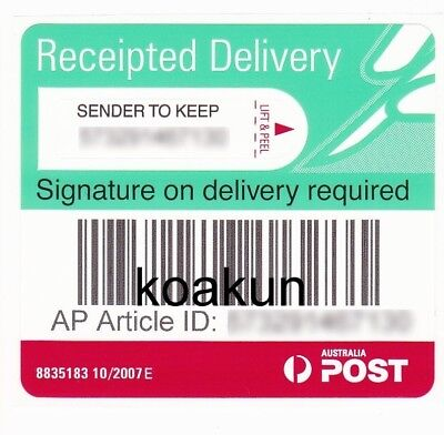 10X Australia Post Signature Delivery Tracking Label Registered Proof of Deliver
