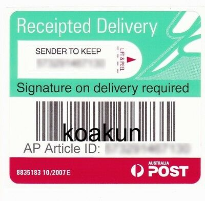 20X Australia Post Signature Delivery Tracking Label Registered Proof of Deliver