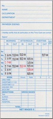 TR-895W WEEKLY TIME CARDS FOR ST-1000 TIME CLOCK CARDS (250 Cards)