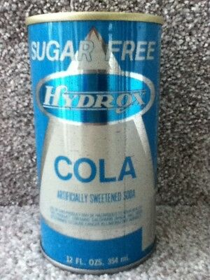 Hydrox Sugar free Cola. Straight steel. Pull top(still attached). Gold color top