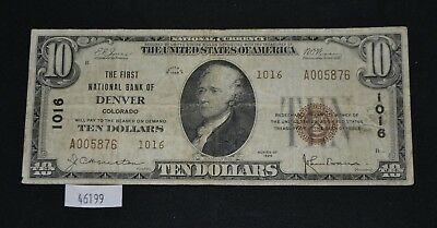 WPC ~ 1929 $10 National Currency First National Bank of Denver CO #1016 Series 2