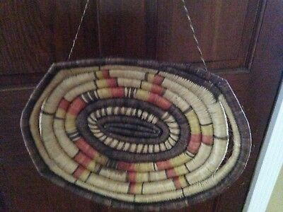 Old Coiled Native American Tray Basket