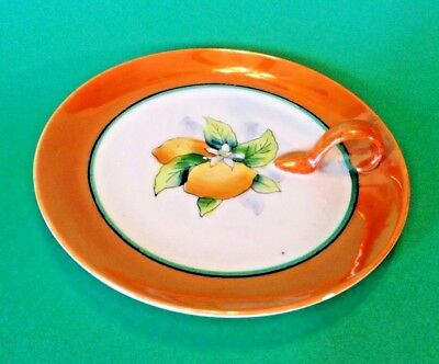 Noritake Nappy Dish With Handle - Hand Painted Luster With Yellow Lemons - Japan