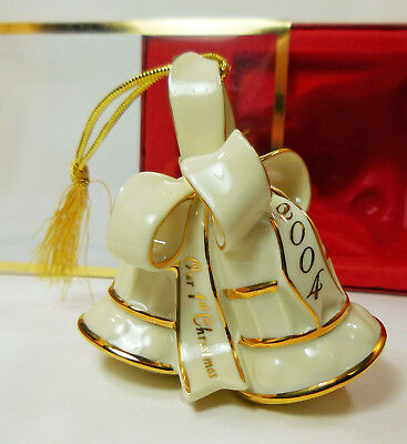 2004 Lenox Annual Our First Christmas Bells With Gold Trim Ornament in Box