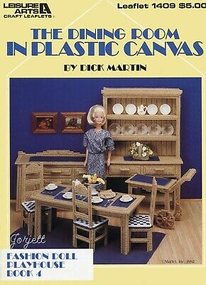The Dining Room Playhouse Book 4 ~ fits Barbie, plastic canvas pattern booklet