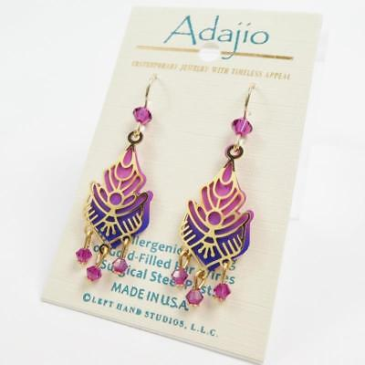 Adajio Earrings Shiny Gold Plated Floral Design Over Pink and Blue Drop & Beads