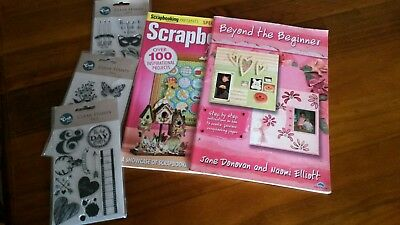 Scapbooking book, magazine + 3packs clear stamps