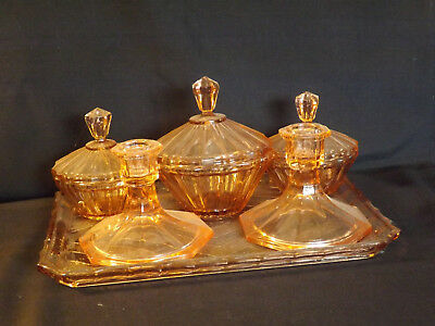 Pink Depression Glass 6 Piece Dressing Table Set - Clearance Sale