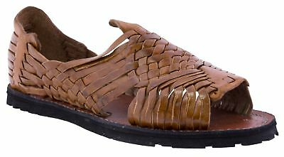 2682642521eb Mens Western Wear Leather Open Toe Sandals Chedron Slip On Style Huaraches