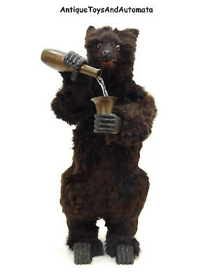 Antique Roullet & Decamps Musical Drinking Bear Clockwork Automaton Music Box