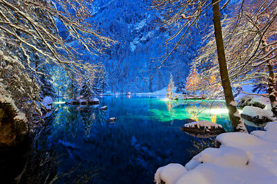 WINTER LAKE EVENING SNOW - CANVAS PRINT READY TO HANG or ROLLED FROM A4