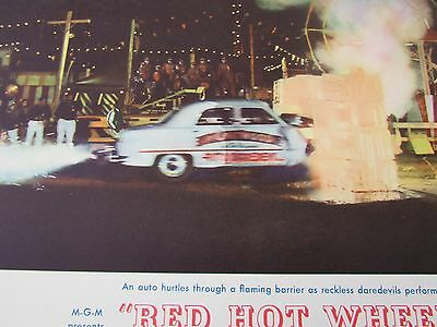 "Clark Gable Joie Chitwood "" Red Hot Wheels"" original movie lobby card poster1962"
