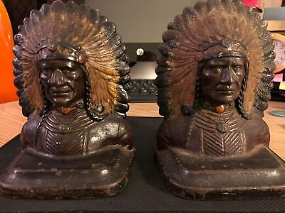 Antique/ Vintage Cast/Bronze  Native American Chief Indian Bookends