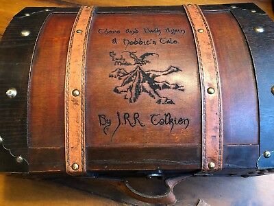 There And Back Again A Hobbit's Tale Book holder Box JRR Tolkien Wood Burned Box