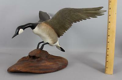 Original 1967 Rubolinos Folk Art Carved Painted Wood, Landing Canada Goose