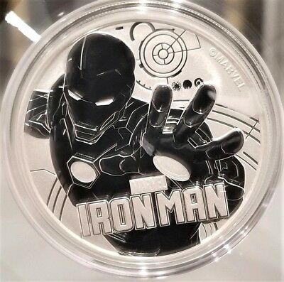 2018 Tuvalu Marvel Iron Man 1 oz .9999 Fine Silver Marvel Series $1 Coin Gem BU.