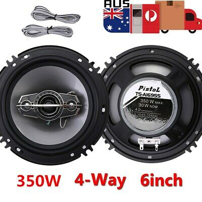 "2Pcs 6"" inch Car Coaxial Speakers 4 Way 350W Stereo Super Bass Audio Cable Auto"