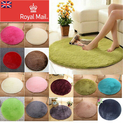 Circle Round Soft Shaggy Rug Kids Living room Bedroom Carpet Floor Fluffy Mat UK