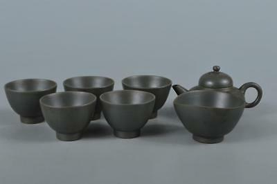 R3746: Japanese XF Old Bizen-ware Blue color TEAPOT YUSAMASHI CUPS Ryuho made
