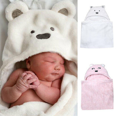 305A Lovely Bear shaped Baby Hooded Bathrobe Soft Infant Newborn Bath Towel Wrap