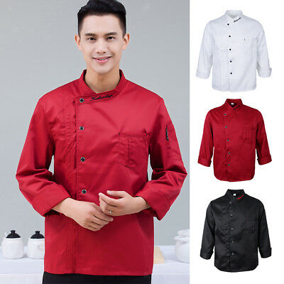 Chef Jacket Coat Uniform Men Kitchen Long Sleeve Cooking Workwear