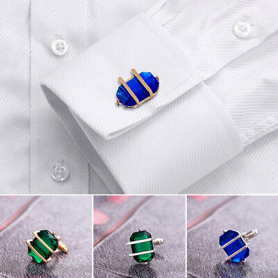 2x Silver Plated Mens Shirt Cufflinks Wedding Party Christmas Crystal Cuff Links