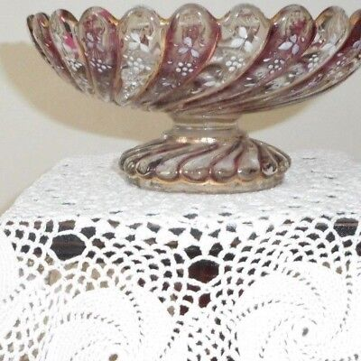 French style hand painted glass footed dish