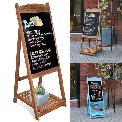 A-Board Pavement Sign Advertising Menu Sandwich Wooden Frame Blackboard Outdoor