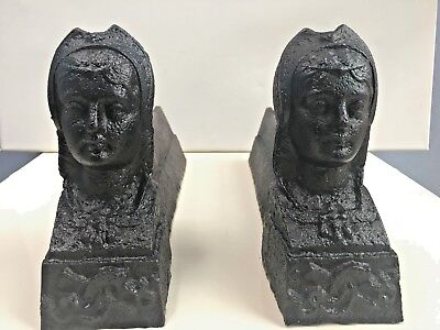 Pair of old antique vintage cast iron French Girls Head Inglenook Fire Dogs