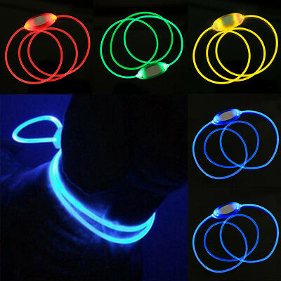 Led Light Up Dog Pet Night Safety Bright Flashing Adjustable Collar Leash Strict
