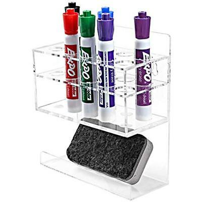 Wall-Mounted 2-Tier Clear Acrylic 10-Slot Dry Erase Whiteboard Marker And Eraser