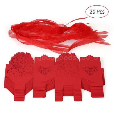 20PCS Delicate Carved Flower Elegant Candy Boxes with Ribbon for Party R6J7