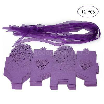 10PCS Delicate Carved Flower Elegant Candy Boxes with Ribbon for Party Y9O0