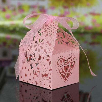 10PCS Delicate Carved Flower Elegant Candy Boxes with Ribbon for Party V5D0