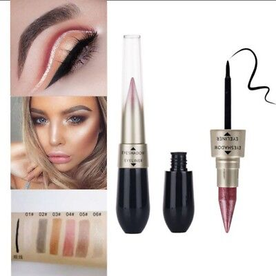 Double-end 2-in-1 Pearly Glimmer Waterproof Eyeshadow Black Eye Liner Pen