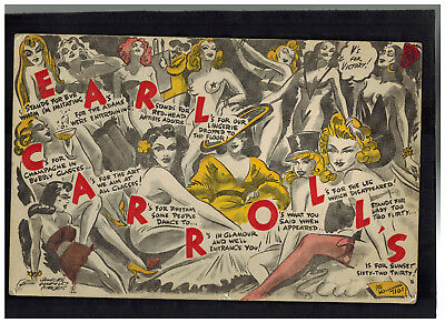 1942 Giant Earl Carrol Postcard Cover Los Angles CA USA to Concord NH Showgirls