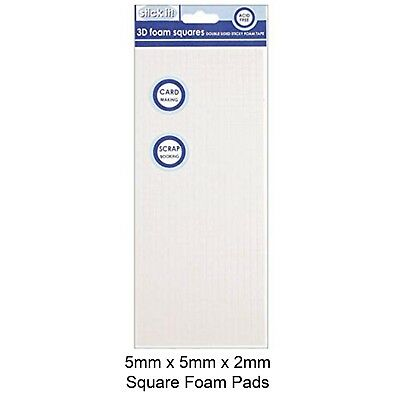 Foam Pads - 5mm x 5mm x 2mm - Sheet 960 pcs - White Sticky Double Sided Adhesive