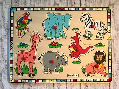 Wildtiere Zootiere Setpuzzle Holzpuzzle Puzzle Holz / 7 Teile / beeboo